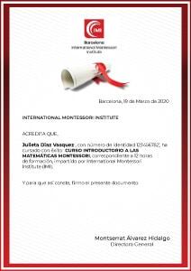 Certificado Matemáticas Montessori