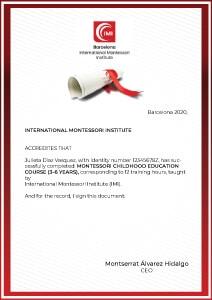 Montessori certificate 3-6