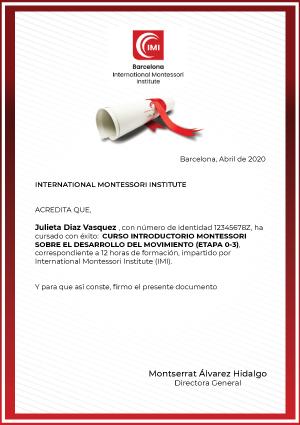 Certificado curso montessori movimiento