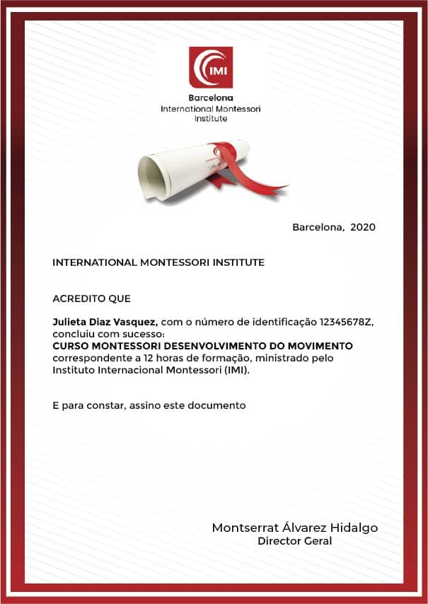 Certificado curso montessori movimiento